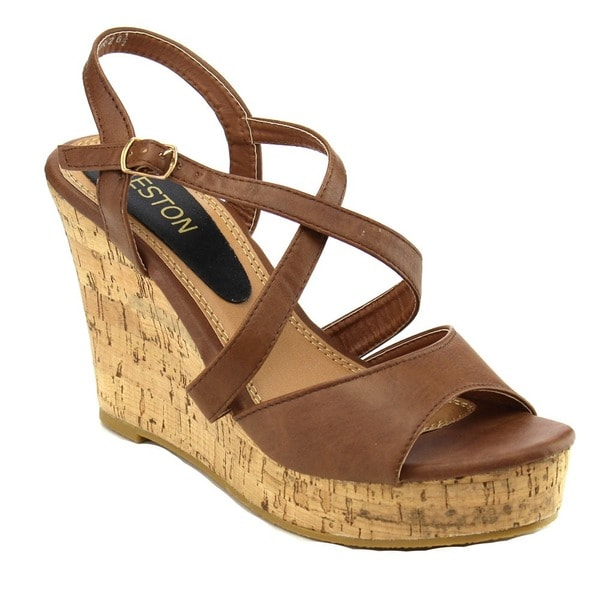 Beston EA49 Women's Strappy Slingback Platform Cork Wedge Sandals. Opens flyout.