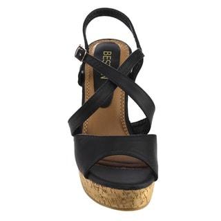 Beston EA49 Women's Strappy Slingback Platform Cork Wedge Sandals