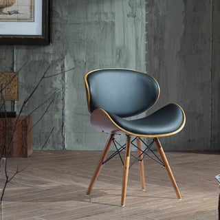 Corvus Madonna Walnut and Black Finished Contemporary Bent Look 30-inch Chair (As Is Item)