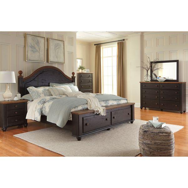 signature design by ashley maxington blackreddish brown storage bed