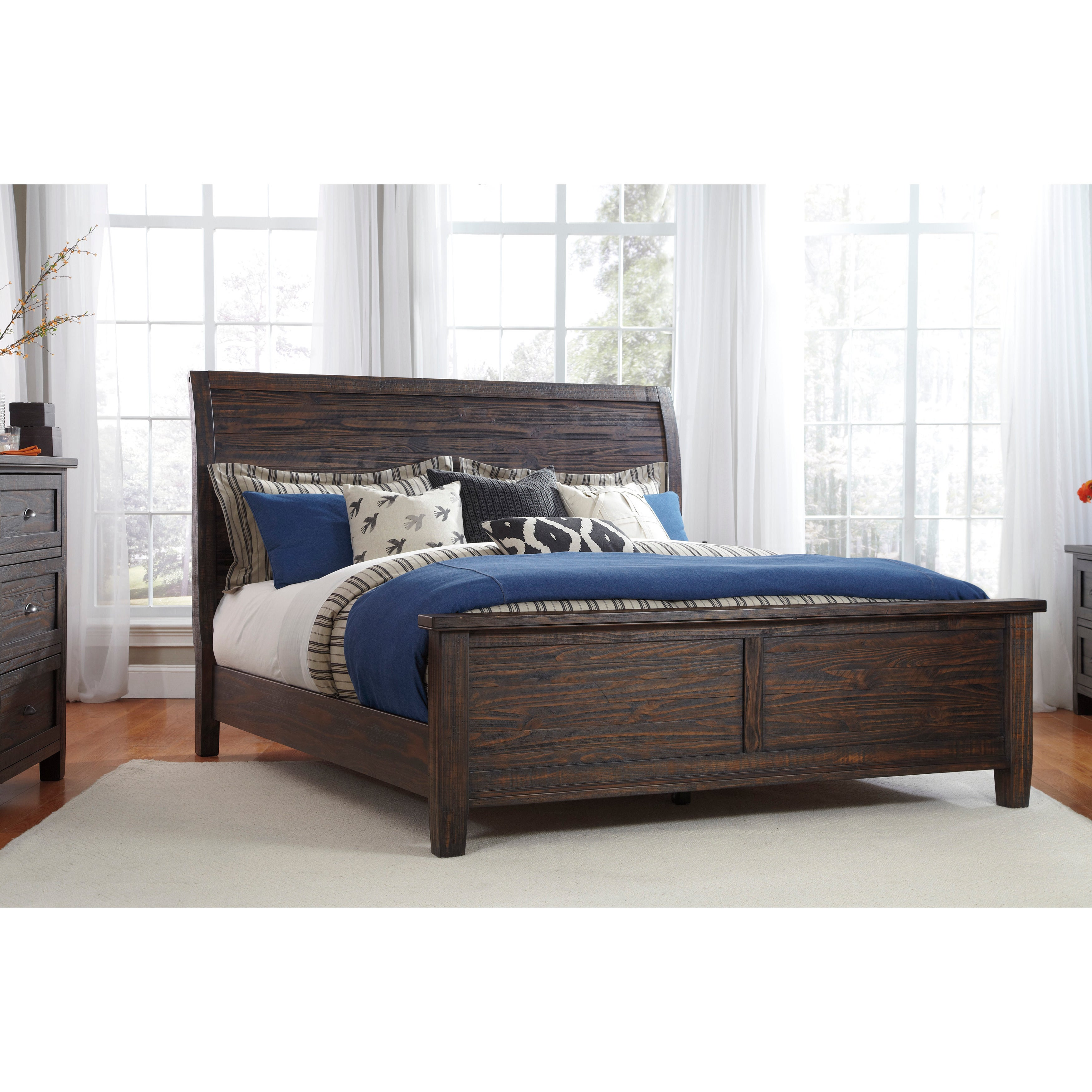 Ashley Trudell Dark Brown Panel Bed (King Panel Bed)