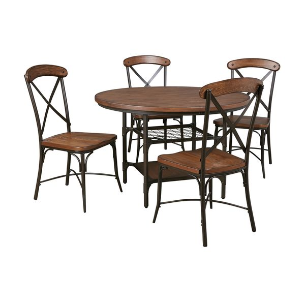Signature Design By Ashley Rolena Brown Table And Four Chairs Set Free Ship
