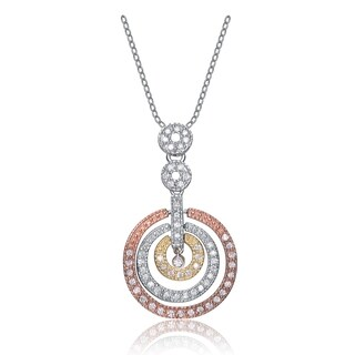 Collette Z Sterling Silver Cubic Zirconia and White Orange and Red Cubic Zirconia Pendant