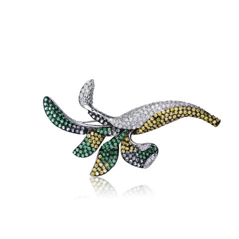 Collette Z Sterling Silver White Yellow and Green Cubic Zirconia Black Rhodium Plated Pin
