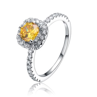 Collette Z Sterling Silver White and Yellow Cubic Zirconia Ring