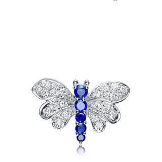 Collette Z Sterling Silver White and Deep Blue Cubic Zirconia Pin