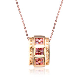 Collette Z Sterling Silver Red and Gold Cubic Zirconia and Gold Plating Clear Pendant