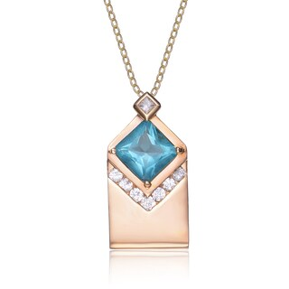 Collette Z Sterling Silver White Cubic Zirconia Gold Plating Clear and Blue Cubic Zirconia Pendant