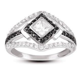 Collette Z Sterling Silver White and Black Cubic Zirconia Ring