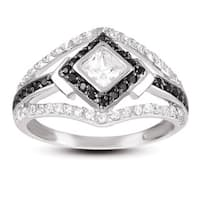 Collette Z Sterling Silver White and Black Cubic Zirconia Ring - Black White