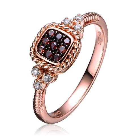 Collette Z Sterling Silver White Cubic Zirconia Gold Plating Clear Champagne Cubic Zirconia Ring