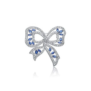 Collette Z Sterling Silver White and Blue Cubic Zirconia Pin