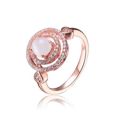 Collette Z Sterling Silver with Rose Gold Plated Clear Round Faux Mother of Pearl with Round Cubic Zirconia Double Halo Ring