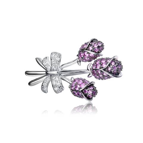 Collette Z Sterling Silver White and Purple Cubic Zirconia Pin - Red