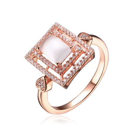 Collette Z Sterling Silver with Rose Gold Plated Clear Emerald Faux Mother of Pearl with Round Cubic Zirconia Double Halo Ring