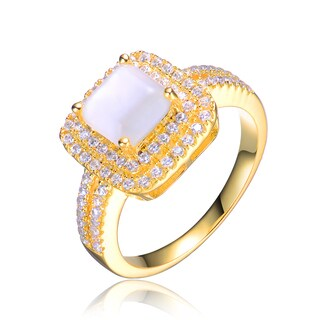 Collette Z Sterling Silver White Cubic Zirconia Gold Plating Clear Ring