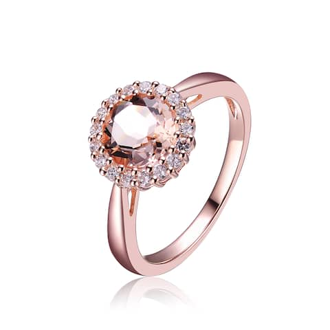 Collette Z Sterling Silver White Cubic Zirconia Rose Plating Clear Dark Amber Ring