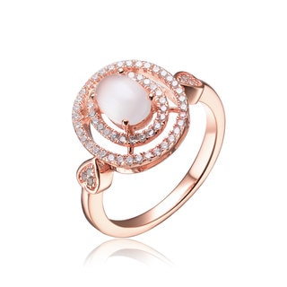 Collette Z Sterling Silver White Cubic Zirconia Rose Plating Clear Pearl Ring