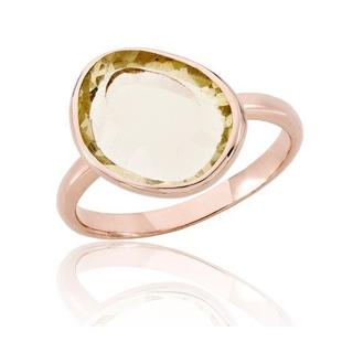 Collette Z Sterling Silver Yellow Cubic Zirconia Rose Plating Clear Ring