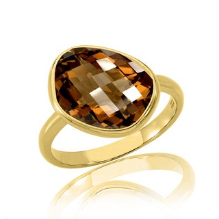 Collette Z Sterling Silver with Gold Plated Smoky Quartz Cushion Cubic Zirconia Solitaire Engagement Ring
