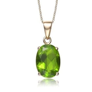 Collette Z Sterling Silver Green Cubic Zirconia Gold Plating Clear Pendant