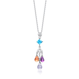 Collette Z Sterling Silver Cubic Zirconia and Blue Orange and Purple Cubic Zirconia Dangling Pendant Necklace