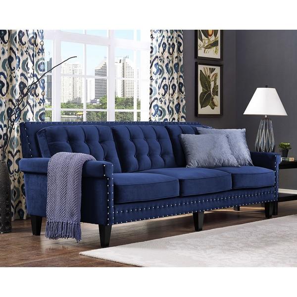 Superbe Jonathan Navy Velvet Sofa