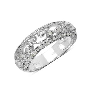 Olivia Leone Sterling Silver 2/5ct TDW Vintage Diamond Band Ring (I-J, I2-I3)