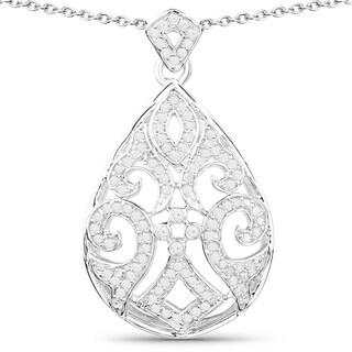 Olivia Leone Sterling Silver 1/4ct TDW White Diamond Pendant