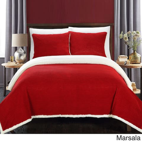 Chic Home Estonia Ultra Plush Micro Mink Sherpa-lined 3-piece Textured Blanket with Pillow Shams Set