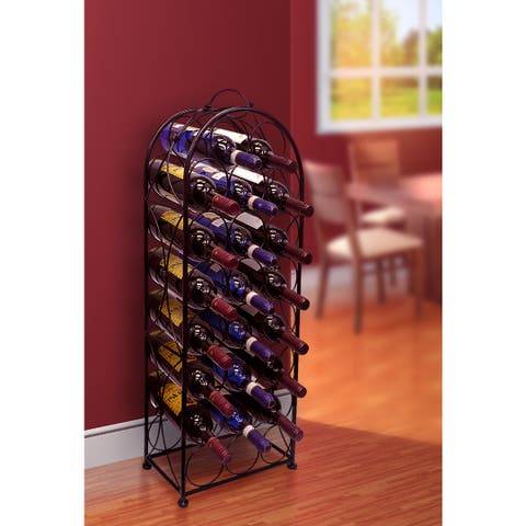 Black Metal 23-bottle Wine Stand