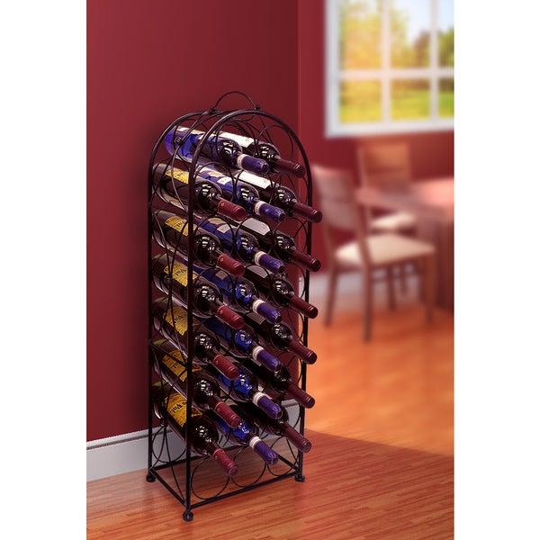 Black Metal 23-bottle Wine Stand