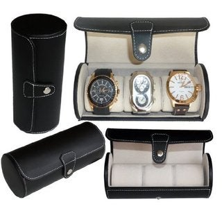 Leatherette Roll Traveler's Watch Storage Organizer for 3 Watch and / or Bracelets (Black)