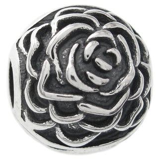 Queenberry Sterling Silver Round Rose Stopper Clip Lock European Bead Charm