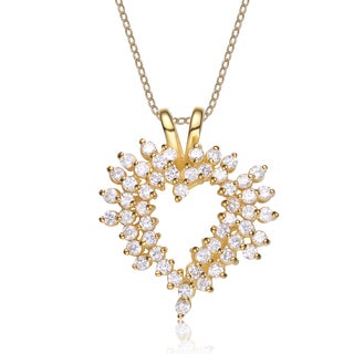 Collette Z Sterling Silver White Cubic Zirconia Gold Plating Clear Pendant