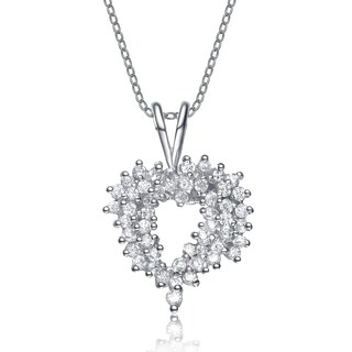 Collette Z Sterling Silver White Cubic Zirconia Rhodium Plating Clear Pendant