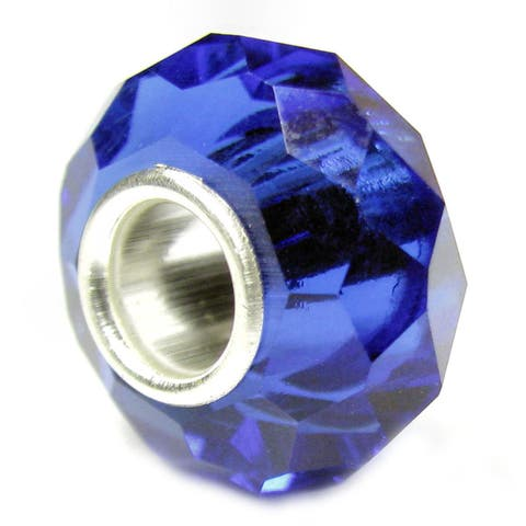 Queenberry Sterling Silver Birthstone Crystal Sapphire Blue European Bead Charm