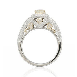 Suzy Levian 14K Two-Tone Gold Yellow Diamond Designer Ring