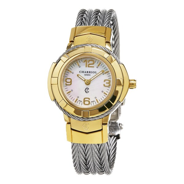 Charriol Women's 'Celtic' Mother of Pearl Dial Two Tone Stainless Steel Swiss Quartz