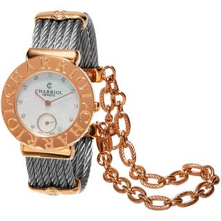 Charriol Women's ST30CP1.560.023 'St Tropez' Mother of Pearl Diamond Dial Stainless Steel Two Tone S|https://ak1.ostkcdn.com/images/products/11065796/P18075910.jpg?impolicy=medium