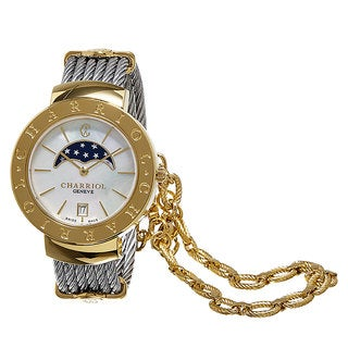 Charriol Women's ST35CY.560.002 'St Tropez' Mother of Pearl Dial Moon Phase Goldtone Stainless Steel Swiss Quartz Watch