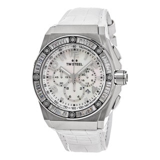 TW Steel Men's CE4015 'Ceo Tech' Mother of Pearl Dial White Leather Strap Chronograph Austrian Crystal Quar