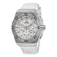 TW Steel Men's  'Ceo Tech' Mother of Pearl Dial White Leather Strap Chronograph Austrian Crystal Quar