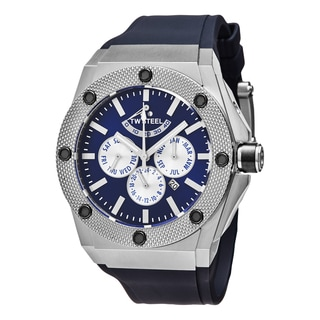 TW Steel Men's CE4016 'Ceo Tech' Blue Dial Blue Rubber Strap Day Date Automatic Limited Edition Watch