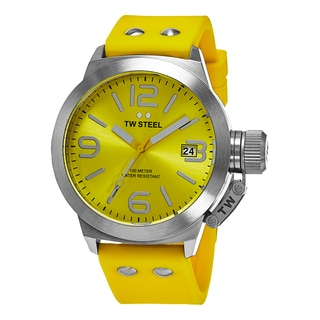 TW Steel Men's TW520 'Canteen' Yellow Dial Yellow Rubber Strap Quartz Watch