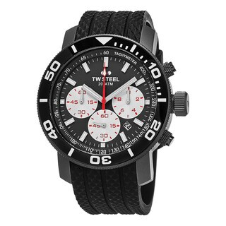 TW Steel Men's TW705 'Grandeur Dive' Grey Dial Black Rubber Strap Chronograph Quartz Large Watch