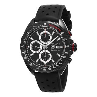 Tag Heuer Men's CAZ2011.FT8024 'Formula' Black Dial Black Rubber Strap Chronograph Swiss Automatic W