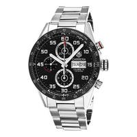 Tag Heuer Men's  'Carrera' Black Dial Stainless Steel Chronograph Swiss Automatic Watch
