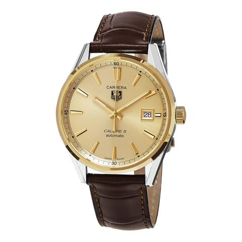 Tag Heuer Men's 'Carrera' Goldtone Dial Brown Leather Strap Two Tone Swiss Automatic