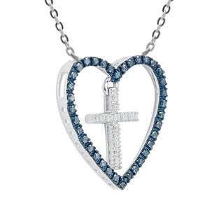 Sterling Silver 0.25ct TDW Blue and White Diamond Cross in Heart Pendant Necklace